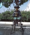 Boy Fishing on Stool bronze statue