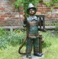 Firefighter Boy bronze statue Fountain by Max Turner
