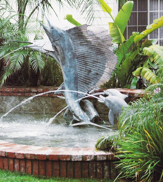 Swordfish bronze fountain by Castano