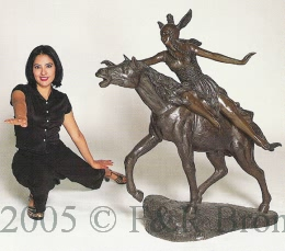 Monumental Horse Woman bronze sculpture by Barye