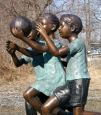 Kids Playing Basketball Bronze Sculpture