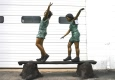 Two Kids Walking On Beam Bronze