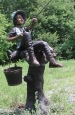Boy & Dog Fishing From Tree bronze statuary