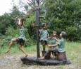 Kids with Water Pump bronze statue