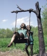 Kids Swinging bronze sculpture
