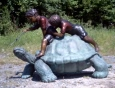 Two Kids Riding on Turtle bronze