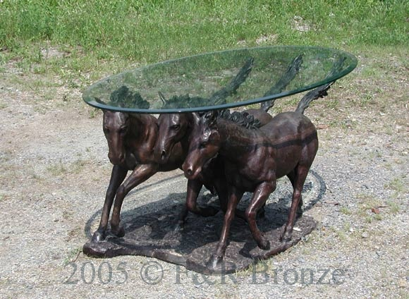 Bronze Three Horses Table with Glass-1