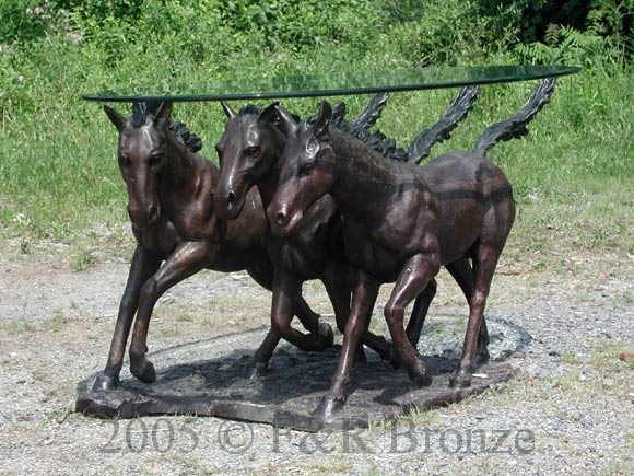 Bronze Three Horses Table with Glass-2