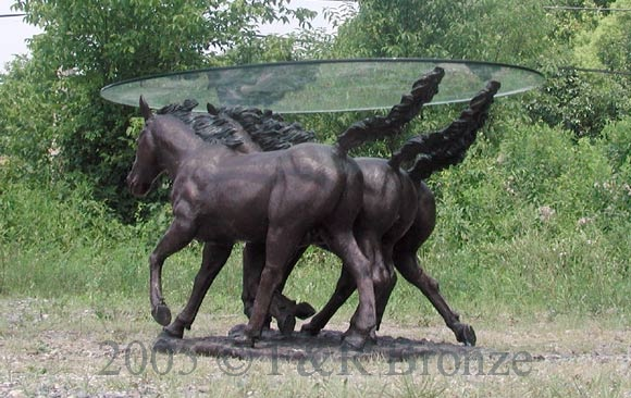 Bronze Three Horses Table with Glass-6