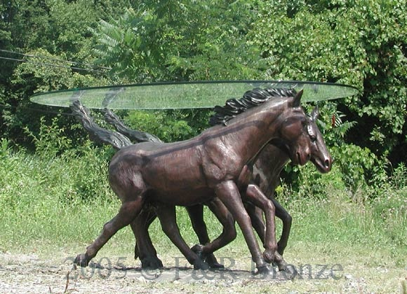 Bronze Three Horses Table with Glass-9