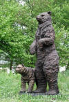 Standing Bear with Cub bronze