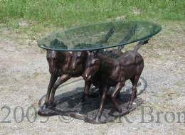 Bronze Three Horses Table with Glass