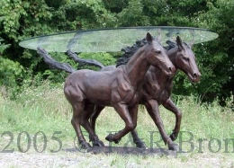 Two Horses Bronze Table with Glass