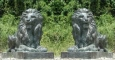 Pair of Majestic Guard Lions bronze sculpture