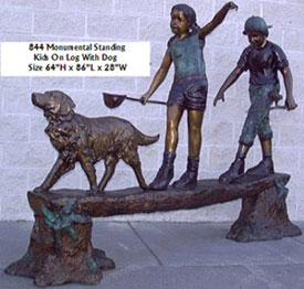 Standing Kids on Log with Dog Bronze