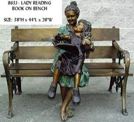 Lady Reading Book on Bench Bronze Statue
