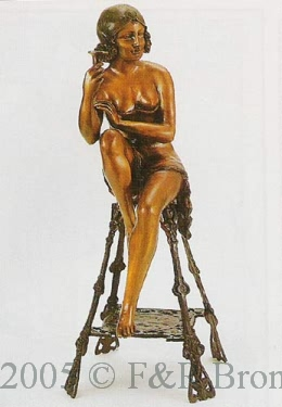 Champagne Lady (right) bronze by J.E. Mir
