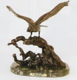 Eagle On Tree bronze sculpture by Jules Moigniez