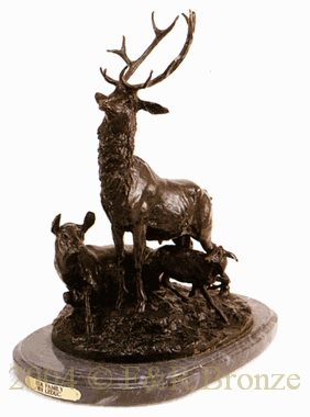Elk Family bronze by Leduc