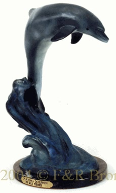Single Playing Dolphin bronze sculpture by Max Turner