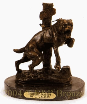 Tethered Mastiff bronze reproduction by Valton