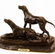 Hunting Dogs bronze statue