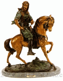 Arab on Horse bronze by Antoine Barye
