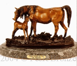 Female Horse with Colt bronze by Fratin