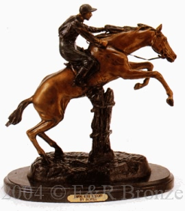 Jumping Horse with Jocky bronze by Bofill