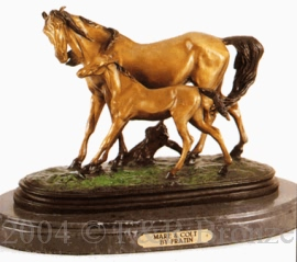 Mare & Colt bronze sculpture by Fratin