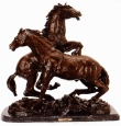 Fighting Stallions bronze sculpture