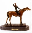 Jockey bronze sculpture
