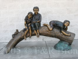 Three Kids On Tree with Squirrel bronze statue